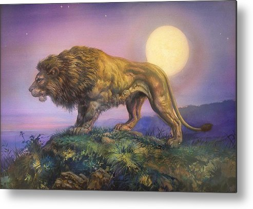 Jesus Helguera Metal Print featuring the painting Leon Nocturno by Jesus Helguera
