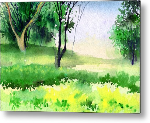 Watercolor Metal Print featuring the painting Let's Go For A Walk by Anil Nene