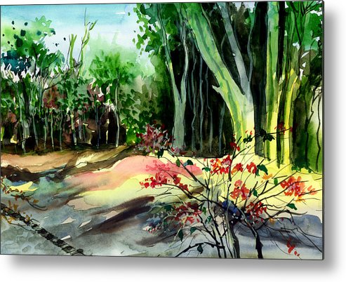 Watercolor Metal Print featuring the painting Light In The Woods by Anil Nene