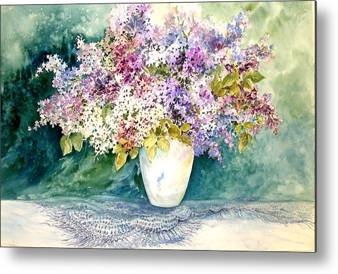 Lilacs;purple Lilacs;vase;floral Watercolor; Metal Print featuring the painting Lilacs And Lace by Lois Mountz