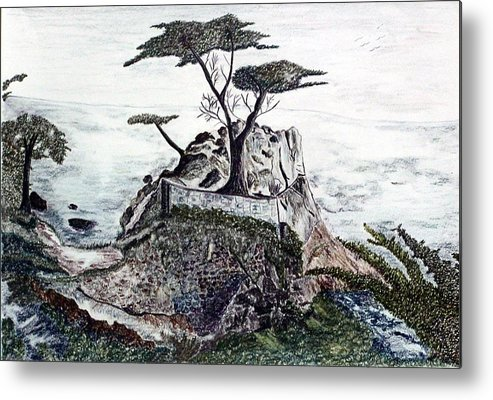 California Metal Print featuring the drawing Lone California Tree by Diane Frick
