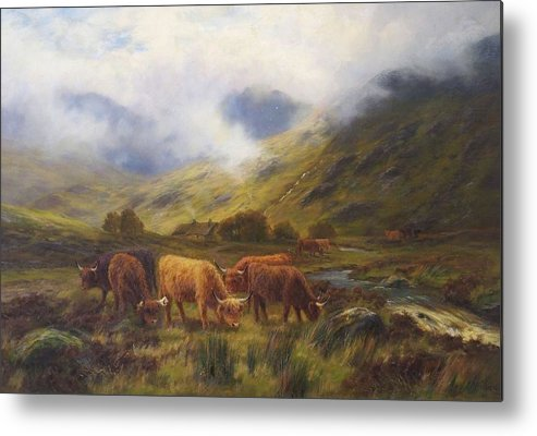 Nature Metal Print featuring the painting Louis Bosworth Hurt British 1856 - 1929 Highland Cattle by Louis Bosworth Hurt