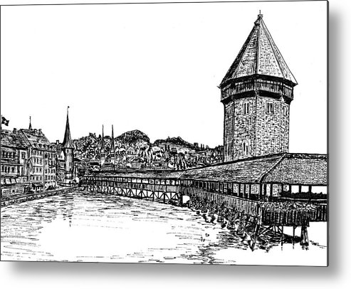 Lucerne Metal Print featuring the drawing Lucerne by Frank SantAgata