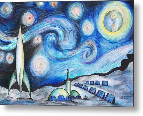 Space Metal Print featuring the drawing Lunar Starry Night by Jerry Mac