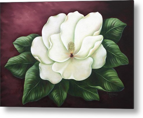 Flower Metal Print featuring the painting Magnolia by Ruth Bares