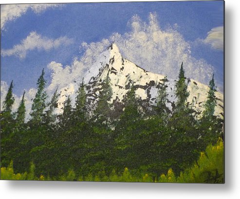 Mountains Metal Print featuring the painting Majestic White by Christian Hidalgo