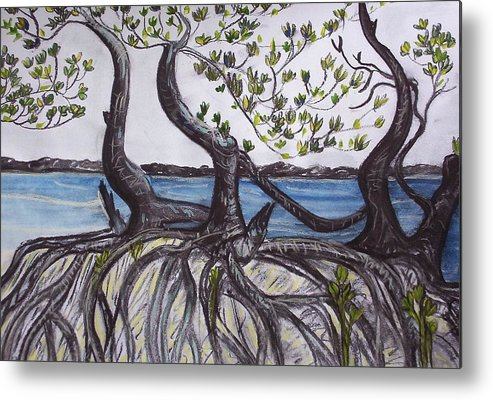 Sea Metal Print featuring the painting Mangroves by Joan Stratton