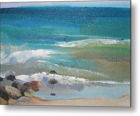 Mendocino Metal Print featuring the painting Mendocino Coast-ocean View by Suzanne Cerny