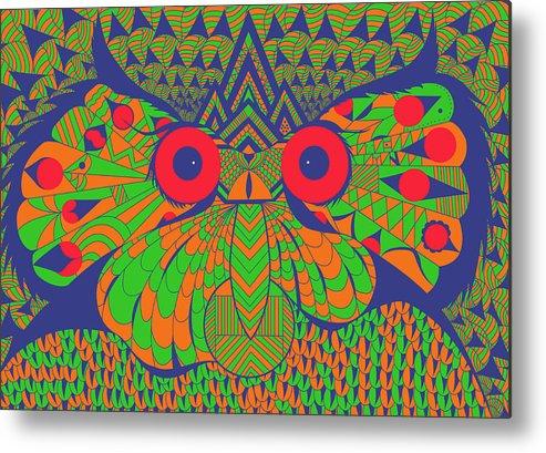Digital Art Metal Print featuring the digital art Mesmerizing Owl by Goyo Angulo