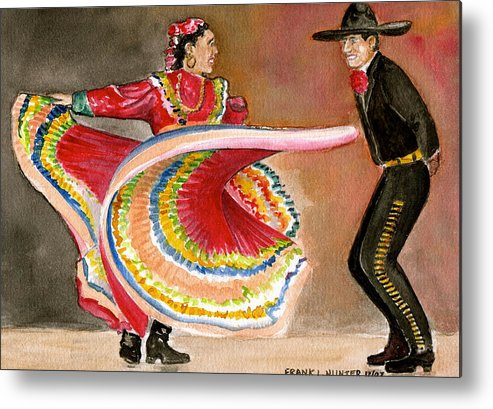Mexico City Ballet Folklorico Swirling Dress Black Mens Outfit Dance Metal Print featuring the painting Mexico City Ballet Folklorico by Frank Hunter