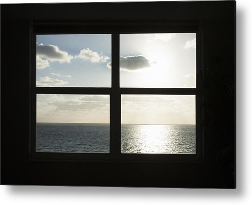 Horizontal Metal Print featuring the photograph Miami Beach Art Deco Window Over The Ocean by Buena Vista Images