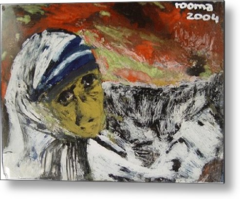 Saint Metal Print featuring the glass art Miracle Mother by Rooma Mehra