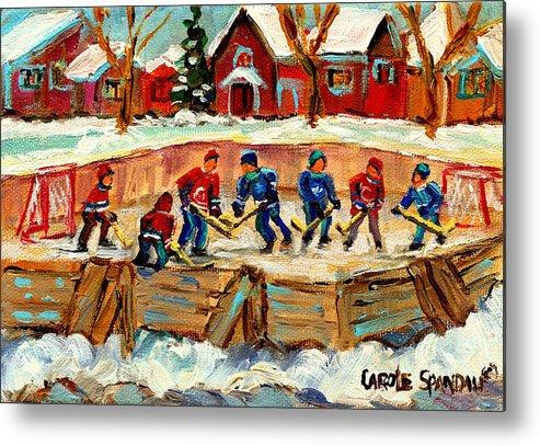 Montreal Metal Print featuring the painting Montreal Hockey Rinks Urban Scene by Carole Spandau