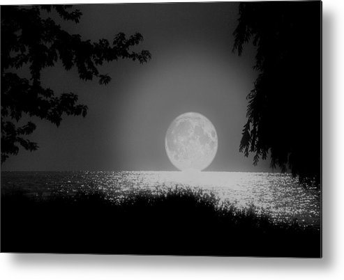 Moon Metal Print featuring the photograph Moonset On Lake Erie by Kenneth Krolikowski