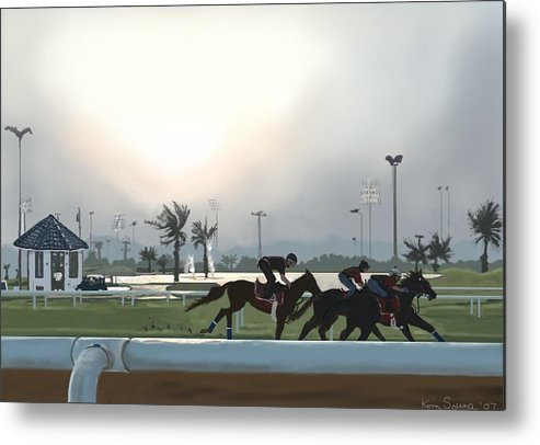 Horses Metal Print featuring the painting Morning Workout by Kim Souza
