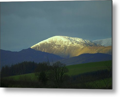 Ridge Hill Peak Mountain Crest Snow Winter Snowdonia Wales Trees Morning Dawn Early Cold Crisp Metal Print featuring the photograph Mountain Ridge by John Paxton Sheriff
