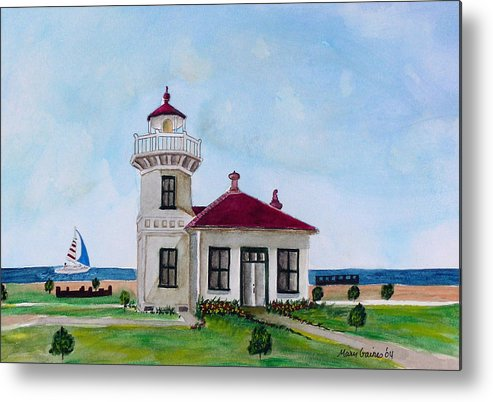 Lighthouse Paintings Metal Print featuring the painting Mukilteo Lighthouse by Mary Gaines