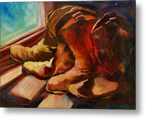 Boots Metal Print featuring the painting My Favorite Boots by Diane Whitehead