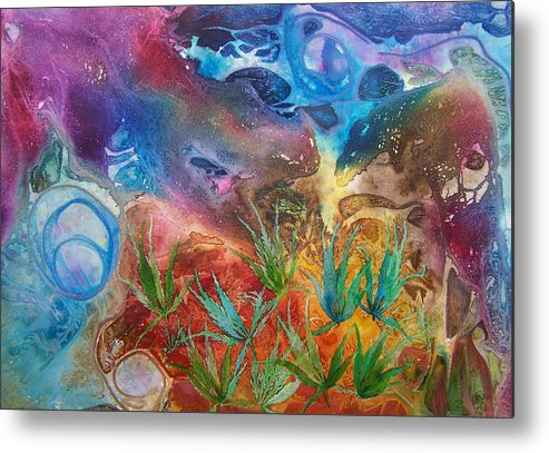 Mixed Media Metal Print featuring the painting Mysteries Of The Ocean by Vijay Sharon Govender