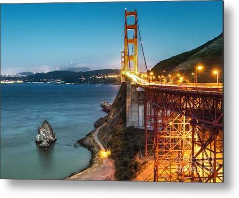 Golden Metal Print featuring the photograph Needles At The Ggb by Stuart Monk