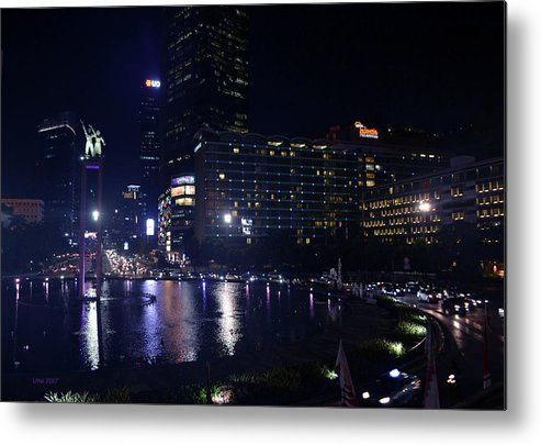 Night Metal Print featuring the photograph Night Skyline Of Jakarta Indonesia 4 by Uma Krishnamoorthy
