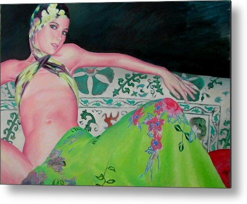 Donna Metal Print featuring the painting Odalisca by Gustavo Aresu