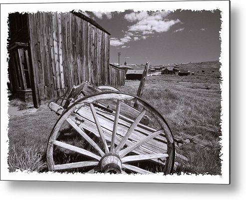 Black And White Metal Print featuring the photograph Old Cart And Building Bodie California by George Oze