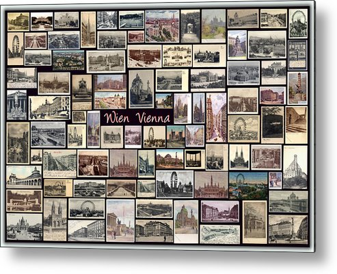 Wien Metal Print featuring the pyrography Old Vienna Collage by Janos Kovac