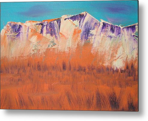 Mountains Metal Print featuring the painting Orange Grass by Liz Vernand