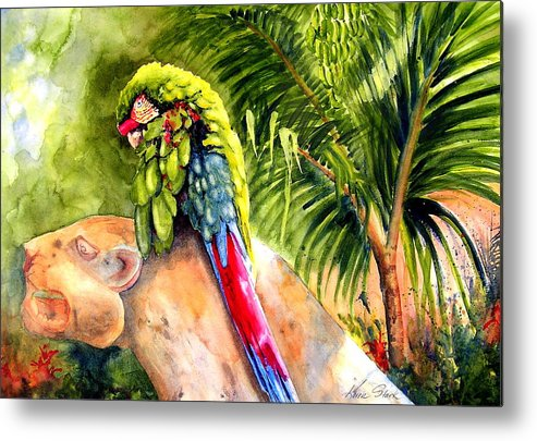 Parrot Metal Print featuring the painting Pajaro by Karen Stark