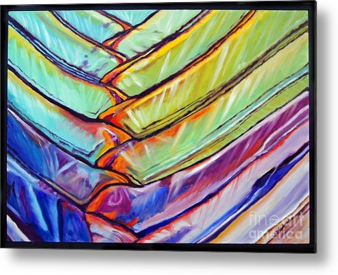 Abstract Metal Print featuring the painting Palm 1 by Gail Zavala