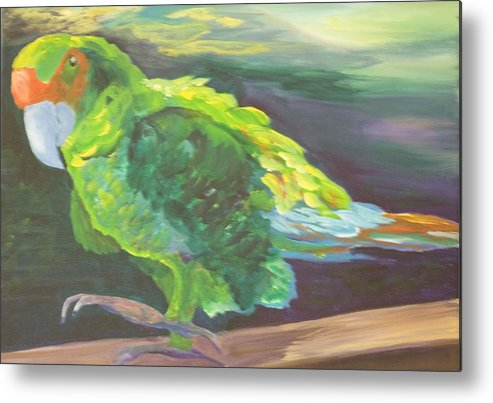 Birds Metal Print featuring the painting Parrot Posing by Anita Wann