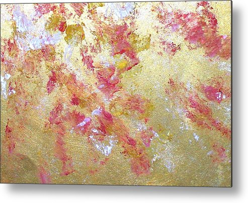 Abstract Metal Print featuring the painting Petal Abstraction by Michela Akers