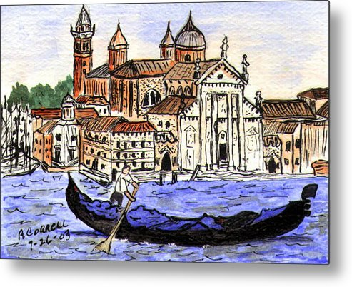 Piazzo San Marco Metal Print featuring the painting Piazzo San Marco Venice Italy by Arlene Wright-Correll