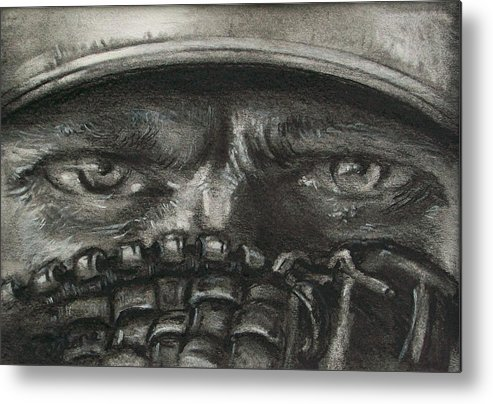Baseball Metal Print featuring the drawing Pitchers Eyes by Tom Forgione