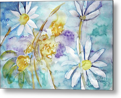 Flowers Metal Print featuring the painting Playfulness by Jasna Dragun