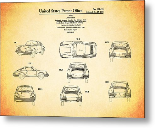 Porsche 911 Patent Metal Print featuring the photograph Porsche 911 Patent by Mark Rogan