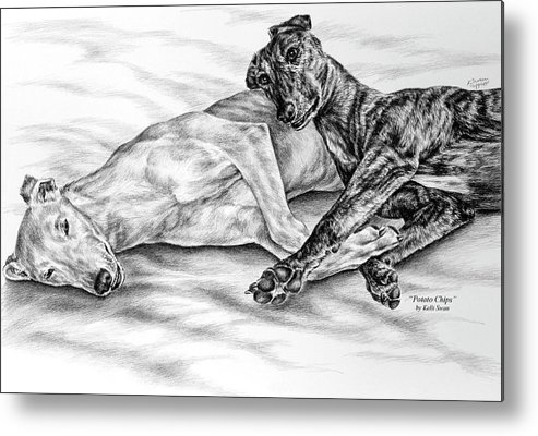 Greyhound Metal Print featuring the drawing Potato Chips - Two Greyhound Dogs Print by Kelli Swan