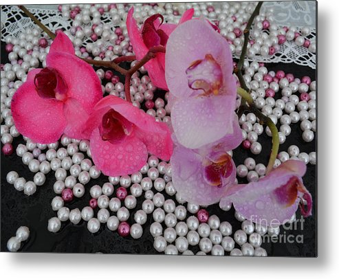 Orchids Metal Print featuring the photograph Rain On Orchids by To-Tam Gerwe