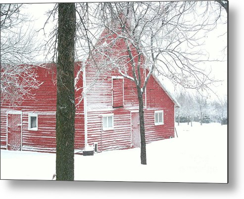 Barn Metal Print featuring the photograph Red And Stormy by Julie Lueders
