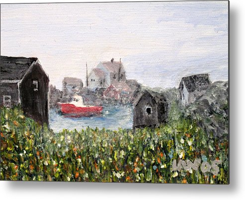 Red Boat Metal Print featuring the painting Red Boat In Peggys Cove Nova Scotia by Ian MacDonald
