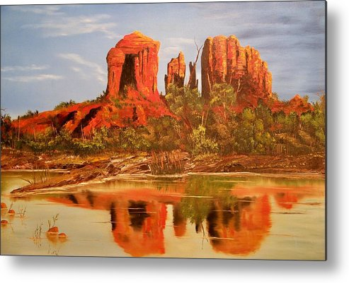 Rocks Metal Print featuring the painting Red Rock by Patrick Trotter