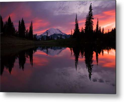 Rainier Metal Print featuring the photograph Red Sky At Night by Mike Dawson