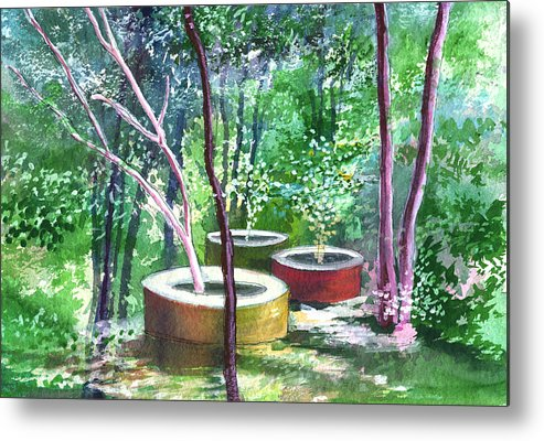 Opaque Landscape Metal Print featuring the painting Relax Here by Anil Nene