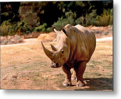Animal Metal Print featuring the painting Rhino by Steve Karol