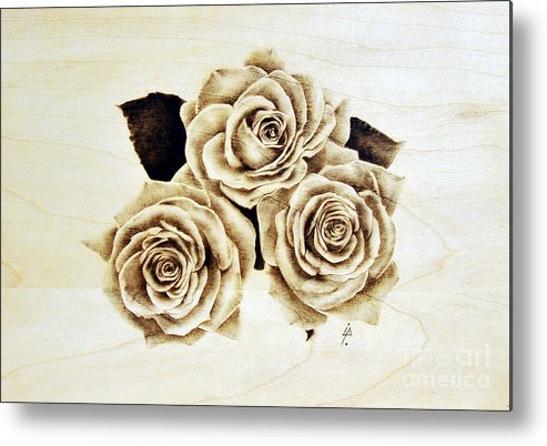 Pyrography Metal Print featuring the pyrography Roses by Ilaria Andreucci