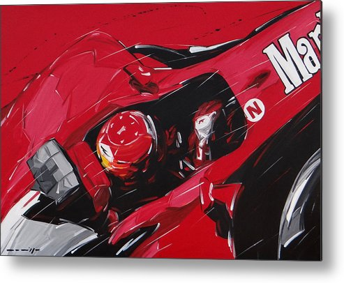 Cars Metal Print featuring the painting Schumacher Ferrari by Roberto Muccilo