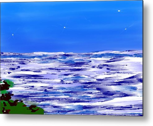 Sea.evening.night.silence.water.waves.deep Water.quiet .coast.sky.stars.calm.no Wind Metal Print featuring the digital art Sea.moon Light by Dr Loifer Vladimir
