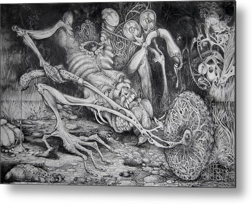 Surrealism Metal Print featuring the drawing Selfpropelled Beastie Seeder by Otto Rapp