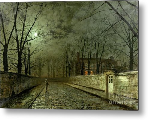 Silver Moonlight Metal Print featuring the painting Silver Moonlight by John Atkinson Grimshaw